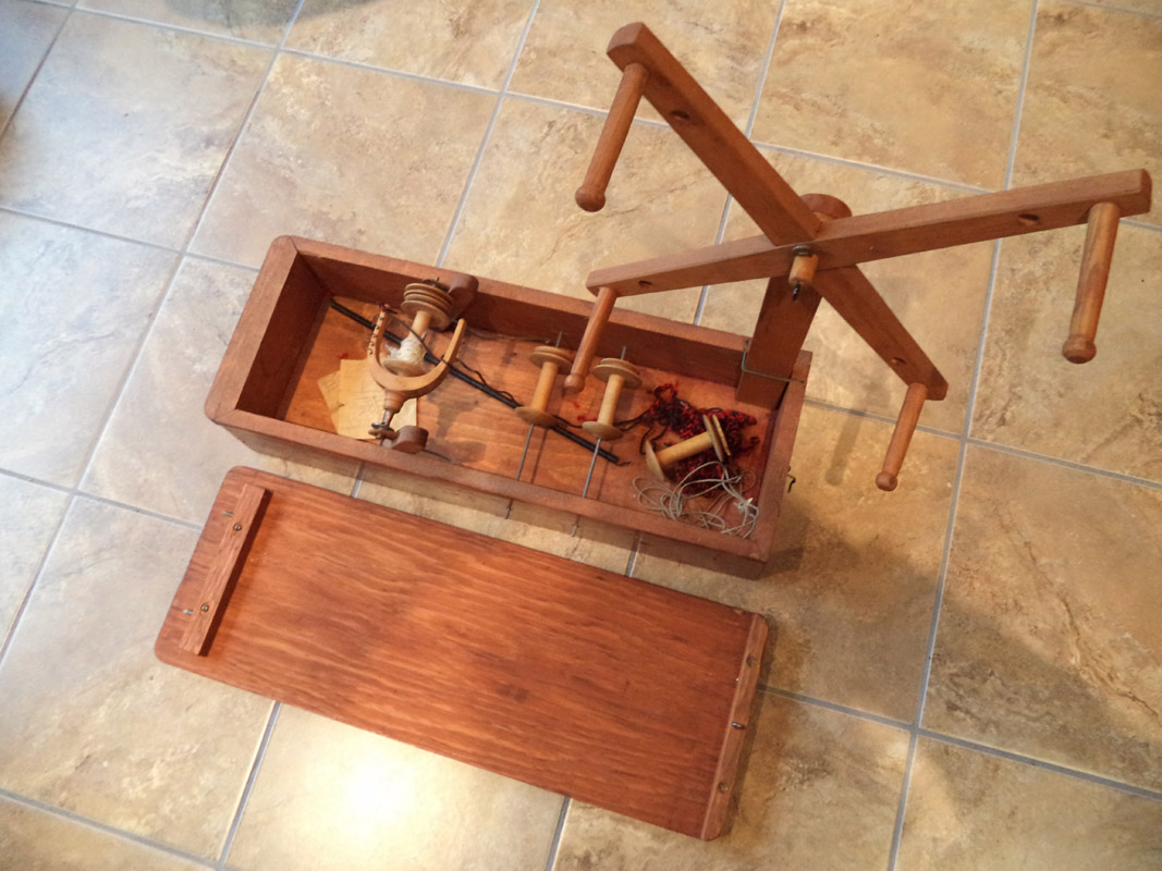 Antique Handmade Wooden Lazy Kate With Yarn Winder Attachment